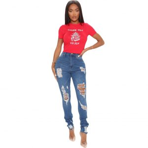 New Women Clothes Ripped Ripped Washed and Worn Skinny Casual Stretch Sexy Jeans - Blue - XX Large