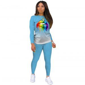 2021 New  Positioning Printing Long Sleeve Pants Plus Size Gradient Color Lips Suit Temperament Commute Sports Suit - Light Blue - XXX Large