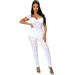 2021 New Women Clothes Ripped Washed and Worn Sexy Stretch Jeans - White - XX Large