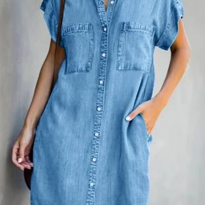 2021 Summer New Women Loose Casual Solid Color Single Breasted Dress - Blue - XX Large