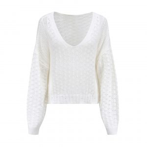 Women Clothing Sexy V-neck Hollow out Sweater Loose Knitted Top - White - Extra Large
