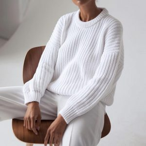 2021  Women Clothing New Casual Loose Autumn and Winter round Neck Long Sleeve Knitted Pullover Sweater Women - White - Extra Large
