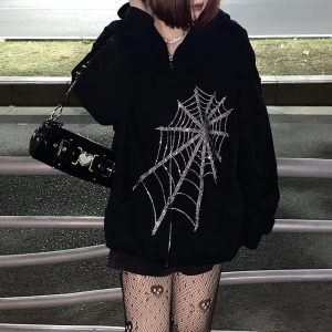 2021 Autumn and Winter  Women Clothing Casual Loose Jacket Top Spider Rhinestone Printing Long-Sleeved Hooded Sweater for Women - Black - XX Large