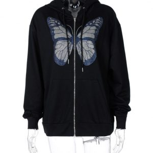 2021 Autumn and Winter  Fashion Women Wear New Casual Top Butterfly Rhinestone Printing Long-Sleeved Hooded Sweater for Women - Black - XX Large