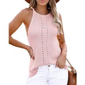 2021  Summer Women Clothing New  Loose Halter Vest Knitted Beach Women Plus size - Pink - XXX Large