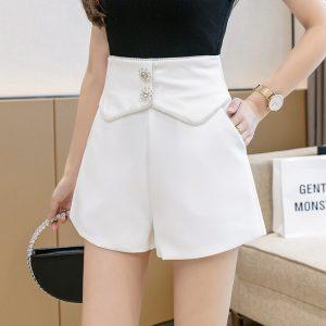 High Waist Wide Leg Shorts Women Summer New Fashion Rhinestone Loose Slimming A- line Outerwear Hot Pants - White - XX Large