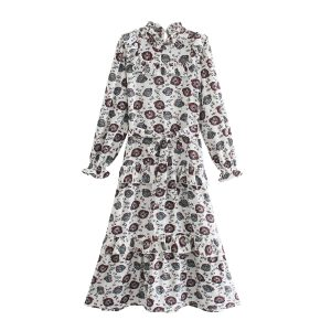 2021 Amoi  Style Women  Long Sleeve Printed Shirt Dress - Multi - Large