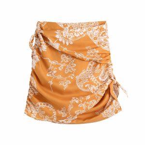 2021 Summer New Women Clothing   Fashion Retro Printed Mini Skirt Lace-up Skirt - Multi - Large