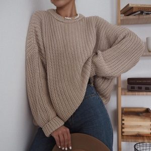 2021  Women Clothing New Casual Loose Autumn and Winter round Neck Long Sleeve Knitted Pullover Sweater Women - Khaki - Extra Large