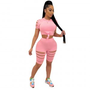 New Women Clothing Solid Color Burnt Flower Hole Exposed Navel Sexy Casual Sports Suit Two-Piece Set - Pink - XX Large