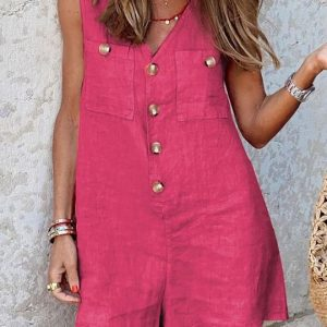 2021 New  Women Clothing Cotton and Linen V-neck Buttons Patch Pocket Vest One-Piece Shorts - Coral Red - XX Large