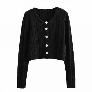 Autumn and Winter New Casual Twist Long Sleeve Single-Breasted Knitted Sweater Cardigan Jacket Women - Black - Large