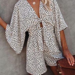 2021 Summer New Women  Leopard Print Flare Sleeve V-neck Lace-up Jumpsuit - White - XX Large