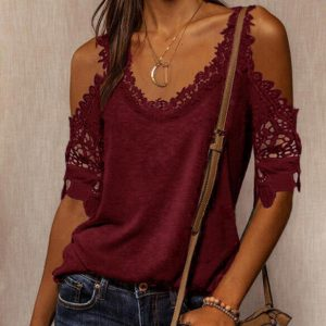 2021 Autumn New Women Loose Casual Solid Color Lace Shoulder Strap T-shirt - Red - XX Large
