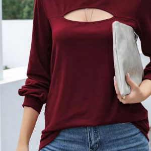 2021 Autumn New Women Solid Color Loose round Neck Long Sleeve T-shirt - Red - XX Large