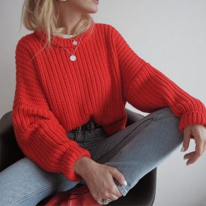 2021  Women Clothing New Casual Loose Autumn and Winter round Neck Long Sleeve Knitted Pullover Sweater Women - Red - Extra Large