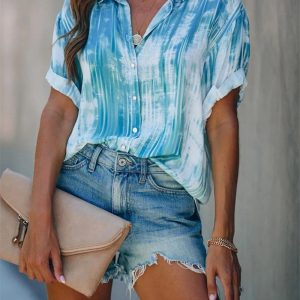 2021 Plus Size Spring and Summer New Women Printed Button Top Chiffon Shirt - Light Blue - XXX Large