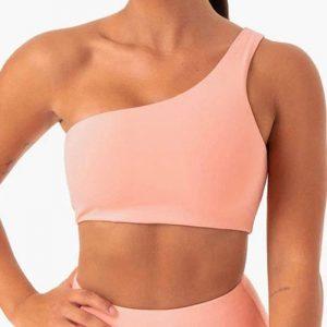 New Yoga Wear Women  Bra Leopard Print One-Shoulder Yoga Underwear with Chest Pad Sports Bra Bra - Peach - Large