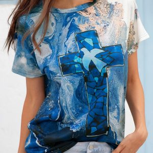 2021 Autumn New Women Loose Casual Tie Dyed Crew Neck T-shirt - Blue - XX Large