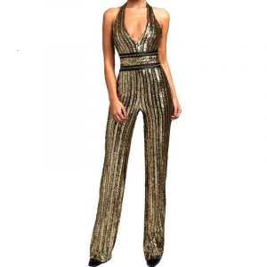 New Fashionable Sequ Sequin V-neck Halter Tight Waist One-Piece Trousers Party Party Banquet Dress - Gold - Large
