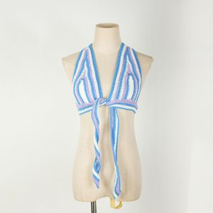 2021  Striped Halter Chest-Wrapped Beach Nightclub Sexy Beauty Back Rope Camisole Underwear Women Sweater Plus size - Blue - XXX Large