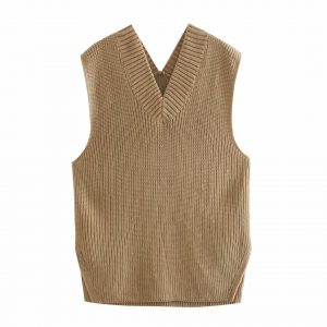 2021  Women Clothing   Loose Split V-neck Sleeveless Knit Vest Vest Mid-Length Sweater - Khaki - Large