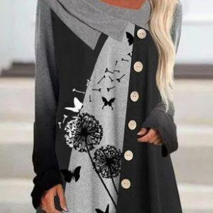 2021 Autumn New Women Casual Multicolor Dandelion Printed Loose Sweatshirt - Black - XX Large