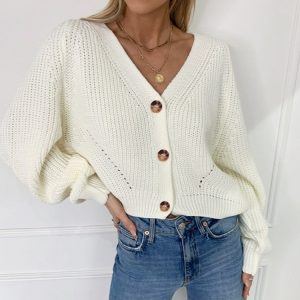 2021    New Long Sleeve Solid Color and V-neck Button Loose Knitted Cardigan Sweater Coat for Women - White - XX Large