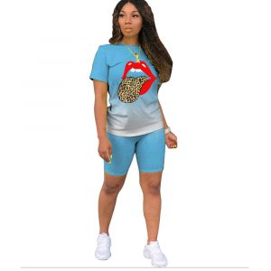 2021  Short Sleeve Gradient Blouse and Pants Positioning Printed Lips Fashion Slim Suit - Light Blue - XXX Large