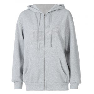 2021 Autumn And Winter New Women Bathroom Hooded Sweater Solid Color Loose Casual Women Tops - Gray - Extra Large