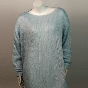 2021 Mohair Sweater Women Autumn and Winter Knitting Top Fashion Casual  Sweater  Women Clothing - light blue - Extra Large