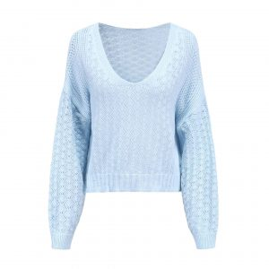 Women Clothing Sexy V-neck Hollow out Sweater Loose Knitted Top - Blue - Extra Large