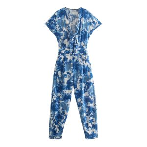 Summer New  Style Flower Print Jumpsuit - Multi - Large