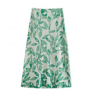 2021 Summer Elegant Women Printed Long Skirt Knitted Jacquard Midi Dress A- line Skirt Skirt - Multi - Large