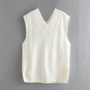 2021  Women Clothing   Loose Split V-neck Sleeveless Knit Vest Vest Mid-Length Sweater - White - Large