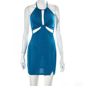 2021  Style  Women Clothing Spring and Summer New Fashion Wrapped Chest Halter Sexy Backless Hollow Dress - Blue - Large