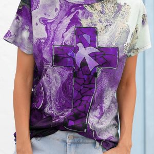 2021 Autumn New Women Loose Casual Tie Dyed Crew Neck T-shirt - Purple - XX Large