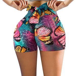 2021  New Shorts   Printing Bow Back Waist Yoga Pants Women Pants - Colorized butterfly - XX Large