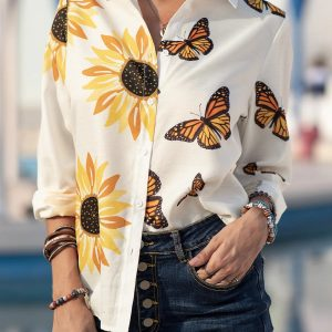 2021 Plus Size New Butterfly Chrysanthemum Element Printed Loose Casual Women Shirt - Multi - XXX Large