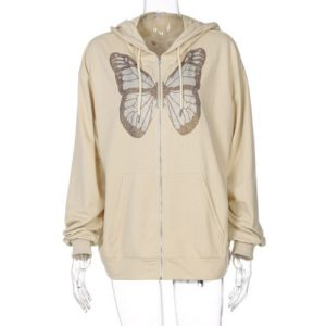 2021 Autumn and Winter  Fashion Women Wear New Casual Top Butterfly Rhinestone Printing Long-Sleeved Hooded Sweater for Women - Ivory - XX Large