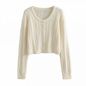 Autumn and Winter New Casual Twist Long Sleeve Single-Breasted Knitted Sweater Cardigan Jacket Women - White - Large