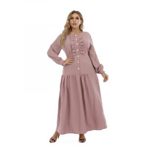 Autumn and Winter New French Style Large Size Dress Ruffled Plump Girls Long Sleeve Dress Can Be Worn - Pink - XXXXX Large