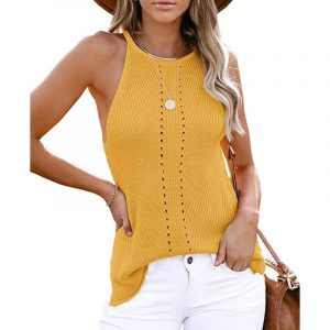 2021  Summer Women Clothing New  Loose Halter Vest Knitted Beach Women Plus size - Yellow - XXX Large