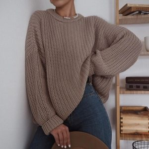 2021  Women Clothing New Casual Loose Autumn and Winter round Neck Long Sleeve Knitted Pullover Sweater Women - Coffee - Extra Large