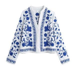 2021  Style Spring Women Clothing  Blue and White Porcelain Embroidered  Shirts - Multi - Large