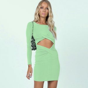 2021  Summer New Sexy Hollow Exposed Navel Twisted Long-Sleeved Dress Women - Light Green - Large