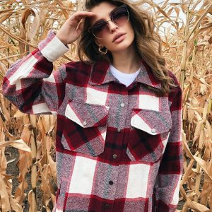 Thick Retro Plaid Shirt Coat 2021  Women Clothing Autumn Plaid Shirt - Red - Large