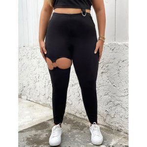 Commuter Temperament Commute Solid Color Hollow Large Size Women Clothes Casual Pants - Black - XXXX Large