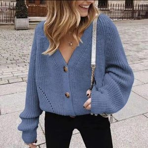 2021    New Long Sleeve Solid Color and V-neck Button Loose Knitted Cardigan Sweater Coat for Women - Blue - XX Large