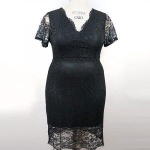 2021 Spring and Summer New Gentle Large Size Women Clothing Fat Sister Elegant Slim Lace Sheath V-neck Dress - Black - XXXX Large